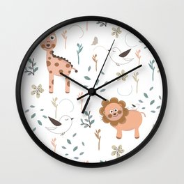 Seamless kids pattern with giraffe, lion and birds Wall Clock