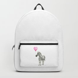 Zebra with Balloon Animal Watercolor Whimsical Animals Backpack