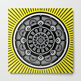 Modern Mandala (Yellow) Metal Print