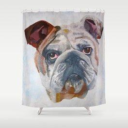 American Bulldog Portrait: Yale Mascot Shower Curtain