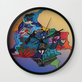 Colombian doodle Wall Clock
