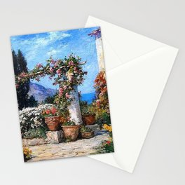 'A Parisian Garden' landscape floral garden painting by Tom Mostyn Stationery Cards