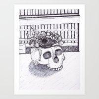 Flower Skull Fineliner Sketch Art Print