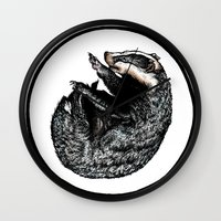 badger Wall Clocks featuring Badger by Natalie Toms Illustration