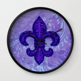 Purple Fleur de Lis Wall Clock