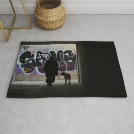 Woman and dog, graffiti Rug