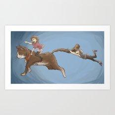 Cat riding Art Print