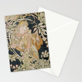 1898 - 1900 Femme a Marguerite by Alphonse Mucha Stationery Cards