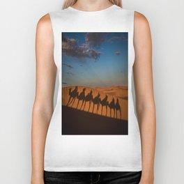 caravan camel desert morocco Biker Tank