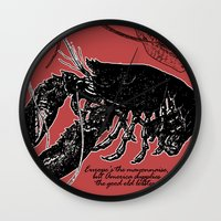 lobster Wall Clocks featuring lobster by Isabella Asratyan