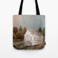 fitzgerald Tote Bags featuring Forget about your house of cards by Emma Fitzgerald