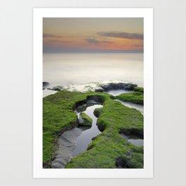 Green, white a red coast Art Print