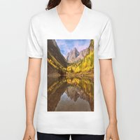 mountains V-neck T-shirts featuring mountains. Mirror Lake by 2sweet4words Designs