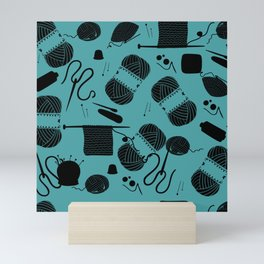 yarn teal Mini Art Print