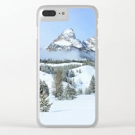Grand Tetons in Winter Clear iPhone Case