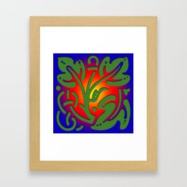 Leaf of tree on colored background: Greenpeace Framed Art Print