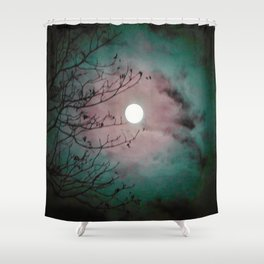 Mystic Moon Pink Teal Shower Curtain