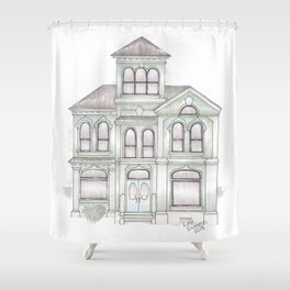 Green Italianate Victorian Shower Curtain