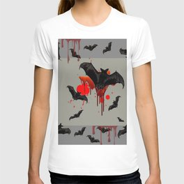 GREY ART OF FLYING BLACK BATS BLOODY  HALLOWEEN PARTY T-shirt
