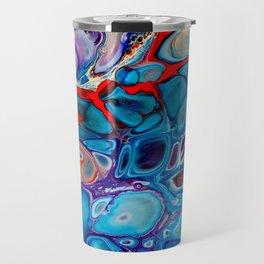 Run Away - Macro 1 - Marbled Stone Look Abstract Art Blue Purple Red Travel Mug