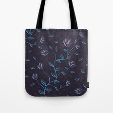 Abstract Glowing Blue Flowers Tote Bag