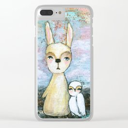 My Best Friend, Rabbit Owl Painting Clear iPhone Case