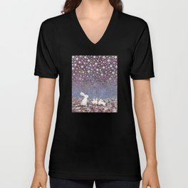 bunnies under the stars Unisex V-Neck