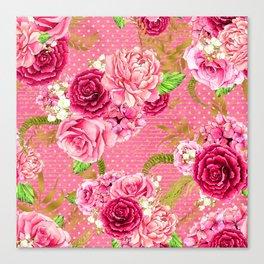 Pink & Gold Vintage Floral Pattern Canvas Print