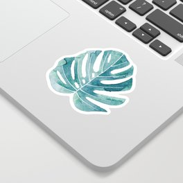 Monstera leaves Jungle leaves Turquoise Tropical Leaves Sticker