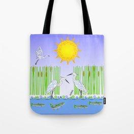 Egrets Fishing Tote Bag