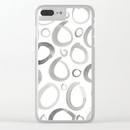 Watercolor O's - Grey Gray Clear iPhone Case