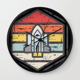Retro Badge Space Shuttle Light Wall Clock