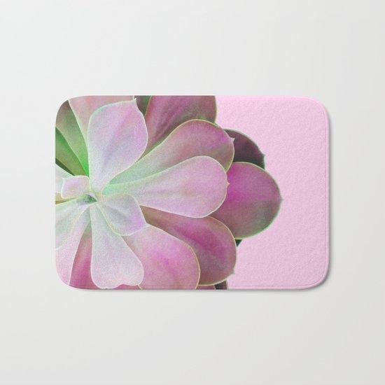 Acid Green and Pink Echeveria Bath Mat