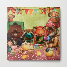 Woodland Friends at Teatime in Forest Metal Print