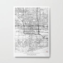 Phoenix Map White Metal Print