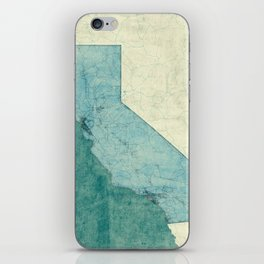 California State Map Blue Vintage iPhone Skin
