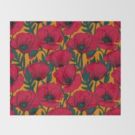 Red poppy garden    Throw Blanket