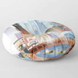 Chicago city skyline painting Floor Pillow