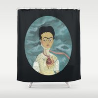 frida kahlo Shower Curtains featuring Frida Kahlo by Chris Talbot-Heindl