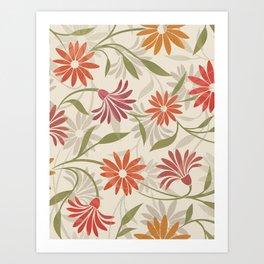 Stylized Flower Pattern 3 Art Print