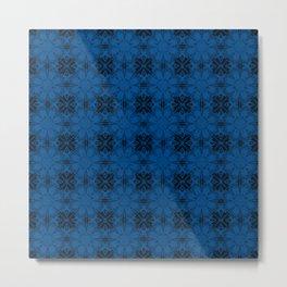 Lapis Blue Floral Geometric Metal Print
