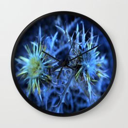 blue thistle Wall Clock
