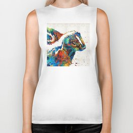 Colorful Skunk Art - Dee Stinktive - By Sharon Cummings Biker Tank