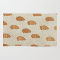 hippo Area & Throw Rugs featuring hippo by sinonelineman