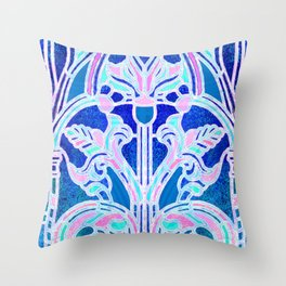 Art Nouveau Blue and Pink Batik Texture Throw Pillow