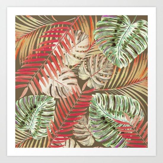 Jungle Tangle Red On Brown Art Print