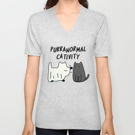 Purr-anormal Cativity Cute Halloween Cat Pun Unisex V-Neck