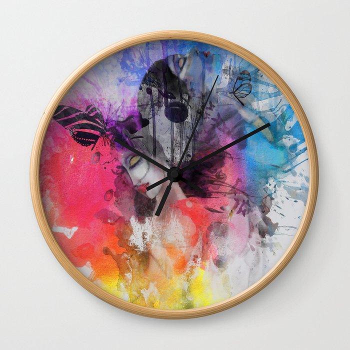 black butterflies Wall Clock