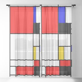 Bauhouse Composition Mondrian Style Sheer Curtain