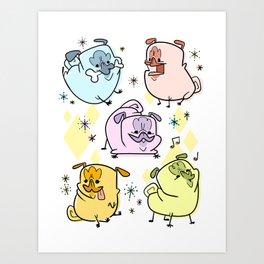 Retro Pugs Art Print